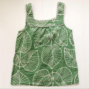 Boden Sleeveless Scallop Edge Leaf Print Top